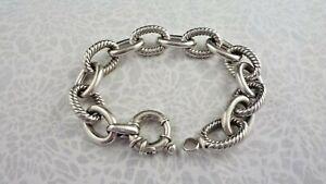 "MILOR ITALY 925 Sterling Silver CHUNKY OVAL LINK Bracelet 37.8g - 5/8"" W 8"" Long"