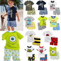 Summer Baby Kids Boy Cartoon T-shirt Tops+Beach Shorts Pants Outfits Clothes Set