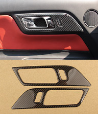 2X Carbon fiber Interior Door Handle Frame cover trim for Ford Mustang 2015-2017