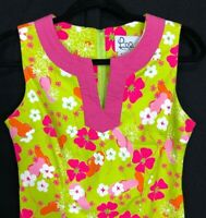 Lilly Pulitzer 2 XS Dress Green Chartreuse Pink Bold Floral Sleeveless Tunic LN