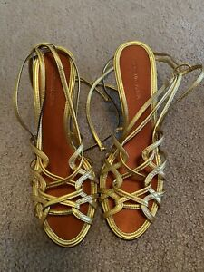 Max Azria Gold Gladiator Sandals Worn Once!
