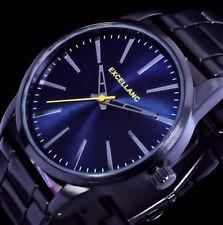 Excellanc Herren Armband Uhr Anthrazit-Schwarz Blau Gelb Edelstahl Armband