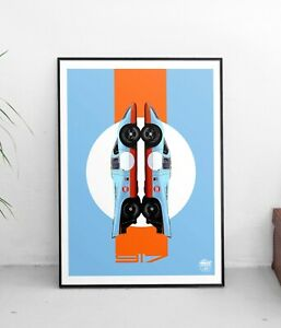 Porsche 917 Le Mans Artwork, Pop Wall Art print Motorsport Car Gulf racing gift