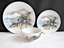 Antique/Vinta Japanese Eggshell Satsuma Style Trio Hand Painted Cup Saucer Plate