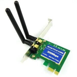 300Mbps Wireless 11N WiFi PCI-E Network Adapter LAN Card + Antennas Desktop PC