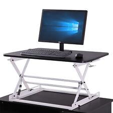 Height Adjustable Sit Stand Up Desk Riser Laptop, Top Desk, Portable, BLK&WH