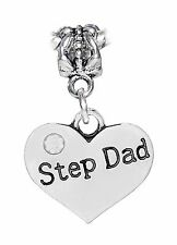 Step Dad Heart Father Daughter Gift Dangle Bead fits European Charm Bracelets