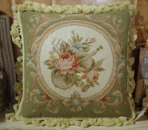 """16"""" Vintage Pale Green Ivory Rose Scroll Beautiful Needlepoint Pillow"""