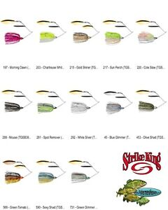 Strike King Tour Grade SpInnerbait 3/8oz Double Willow (TGSB38WW) Any 13 Colors