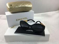 Chanel Bijou Black 22k Yellow Gold Plate Filigree Runway Sunglasses $1350 Auth