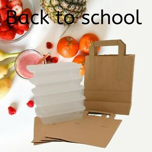 Adult Children Kids Lunch Box & Kraft Bags Set Picnic Food Storage School Dinner