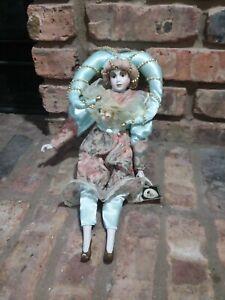 Geppedo Porcelain Harlequin Doll Mardi Gras