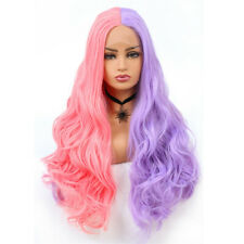 COSPLAY Half Purple Half Pink Lace Front Wig Synthetic Long Wavy Full Hair Wigs