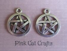 10 x Tibetan Silver FLAT PENTAGRAM PENTACLE WICCAN PAGAN 3D Charms Pendant Beads