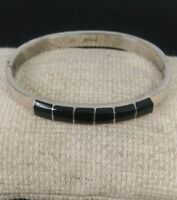 """Vtg. Sterling Silver & Black Onyx Hinged Bangle 7"""" Signed Mexico 925"""