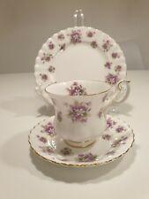 Teacup Saucer Bread & Butter Plate Trio Sweet Violets Royal Albert England