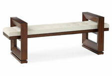Modern Exotic Wood Geometric Block Bench | Hall Seating Large Mid Century White