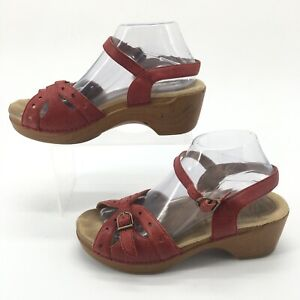 Dansko Womens 40 Sissy Gecko Ankle Strap Platform Wedge Sandals Red Leather