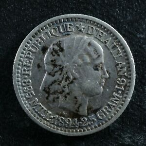 10 centimes 1894 Haiti KM#44 Silver Haïti Ayiti Hayti
