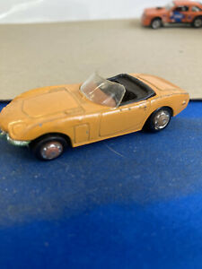 Vintage Playart Toyota 2000GT Convertible Orange 1/64 Scale Black Interior