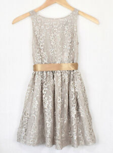 POLO RALPH LAUREN Silver Lace Metallic Dress Girls 10 Party Special Occassion