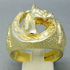 15.2g da Uomo Testa di Cavallo HORSE SHOE RING 9CT oro sulle dimensioni Gioielleria Bronzo x 1/2