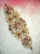 """Bridal Applique Rose Gold Rhinestone Beaded With Antique White Pearls 6"""" (DH54)"""
