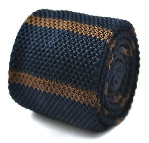 Frederick Thomas Knitted Silk Mens Tie - navy blue and brown striped mens tie