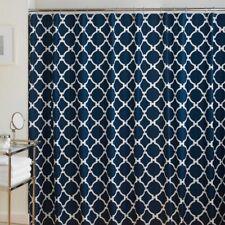 Geometric Shower Curtain Navy White WestPoint Home Hampton Links Cotton  72x72