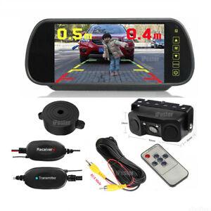 "Wireless 7"" Car Rearview Mirror Monitor+Reversing Camera 2x Parking Radar Sensor"