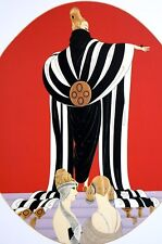 Erte 1987 MONOCO FASHION SHOW Black and White Opera Cloak Art Deco Fashion Print