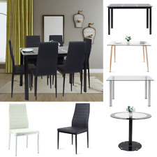 Glass Dining Table PU Leather Chairs Dining Table Kitchen White Black