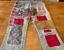 New ListingTrue Vintage 70s Beer Patched Denim Jeans Hippie Bell Bottoms Distressed