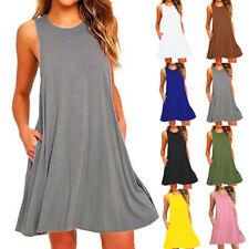 Women Loose Tank Dress Sleeveless Short Dress Solid Casual A-line Beach Sundress