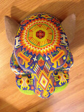 Huichol Indan Beaded Art, Large Carved Jaguar Head
