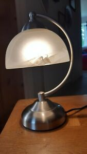 Table/Desk Lamp Brushed Metal Smoked Glass Shade Touch Sensor Light