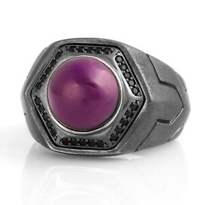 Mens Amethyst Ring Gemstone Rings For Man Oxidized Silver Signet Ring Gift Him