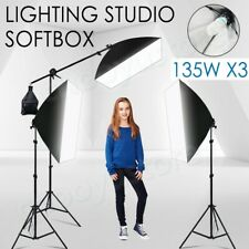 Photography 3 Soft Box Boom Light Stand Studio Continuous Softbox Lighting Kit