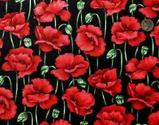 Red Poppy Stems on black fabric fq 50 x 56 cm Nutex 89030-1 100% Cotton