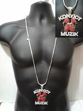 "Silver Red Iced Out Hip Hop Crystal CZ Pendant Franco Chain 36"" Konvict Muzik"