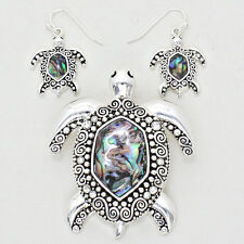 Turtle Pendant Earrings SET SeaLife Swirly SILVER ABALONE SHELL Beach Jewelry