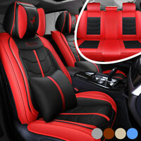 Luxury PU Leather Car Seat Cover For 5-Seats Auto SUV Truck Universal Cushion US