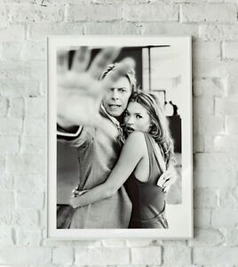 David Bowie and Kate Moss Print, Bowie Art, Kate Moss Print, David Bowie Photo