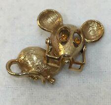 Brooch Pin Avon Mouse w/ Glasses Amber Eyes Rhinestones Gold Tone Metal Vintage