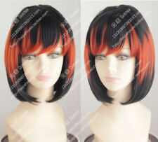 Black and orange highlights bob Short straight hair Costume party women wig