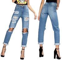 New Womens Stone Washed Ripped Boyfriend Denim Jeans