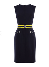Karen Millen - Athleisure Belted Pencil Dress - Navy - New With Tag - Size 16