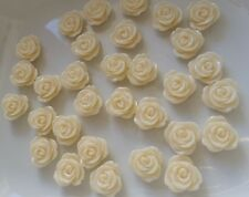 20 Ivory Rose Flowers Cabochons 13mm Flatback Resin
