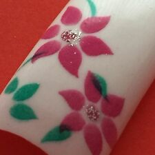20 French Airbrush Nail Tips Blumen Design
