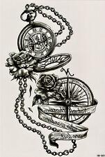 Rosa dei Venti Bussola Orologio temporary temporanei ADESIVA una volta Tatuaggio 15 x 21 cm hb881